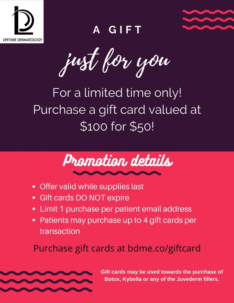 For a limited time only! Purchase a gift card valued at $100 for $50!